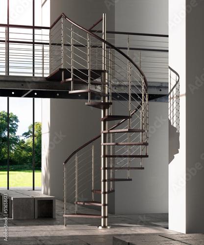 Fotobehang Trappen Scala a chiocciola legno e metallo