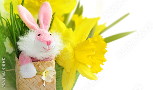 Cute pink bunny with yellow daffodil flowers.