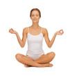 woman in cotton underwear doing yoga