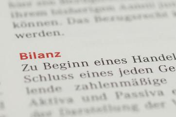 Bilanz Überschrift und Definition in einem Buch