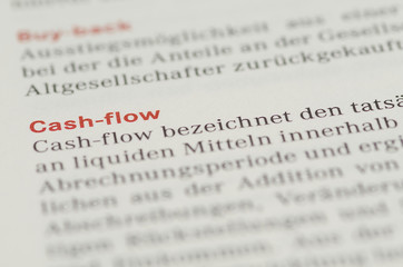 Cash-Flow Überschrift und Definition in einem Buch