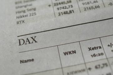 Dax Überschrift in der Zeitung