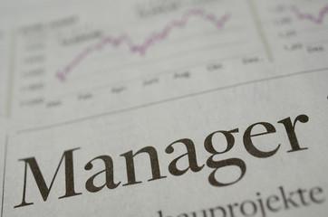 Manager Überschrift mit Chart in der Zeitung