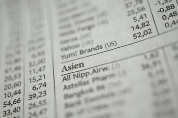 Liste Aktien Asien Detailaufnahme