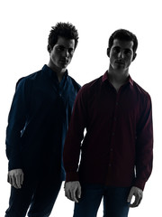 two  men twin brother friends silhouette