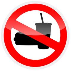 Sinal de proibição - Proibido comer e beber