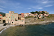 Houses on the cliffs of the coast of Collioure