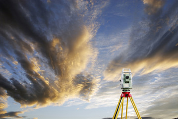 surveying measuring instrument, horizon and sunset