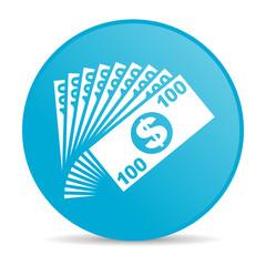money blue circle web glossy icon