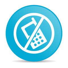 no phones blue circle web glossy icon