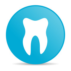 tooth blue circle web glossy icon