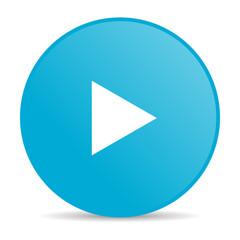 play blue circle web glossy icon