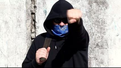 Aggressive man with a machete
