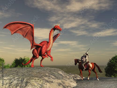 Foto op Plexiglas Draken Dragón y caballero