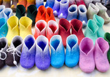 colorful felt boots in market