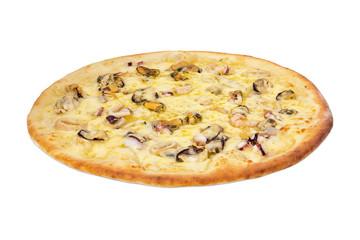 Frutti De Mare pizza, on white background