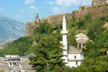 Mosque And Tower Clock In Gjirokaster, Albania
