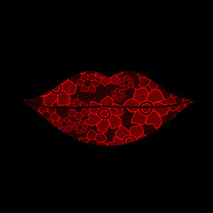 Floral lacy lips on a black background