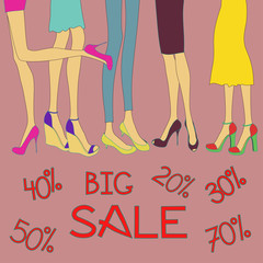 Big sale background of shoes
