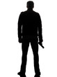 rear view man killer policeman holding gun silhouette