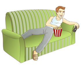 A man and a sofa