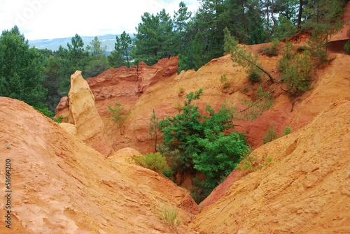 Ocher walk with red cliffs in Roussillon, Provence, France