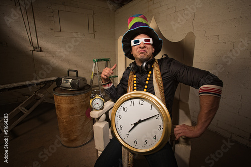 Poser in Large Hat and Clock