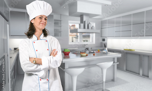Female cook in kitchen