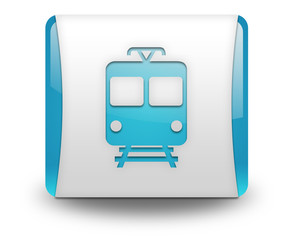 "Light Blue 3D Effect Icon ""Train / Mass Transit"""