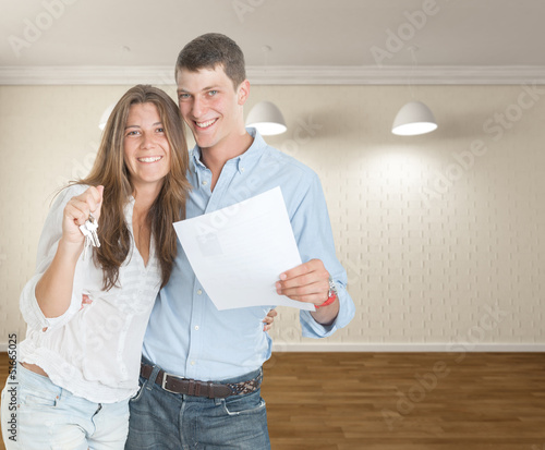 Young couple moving in