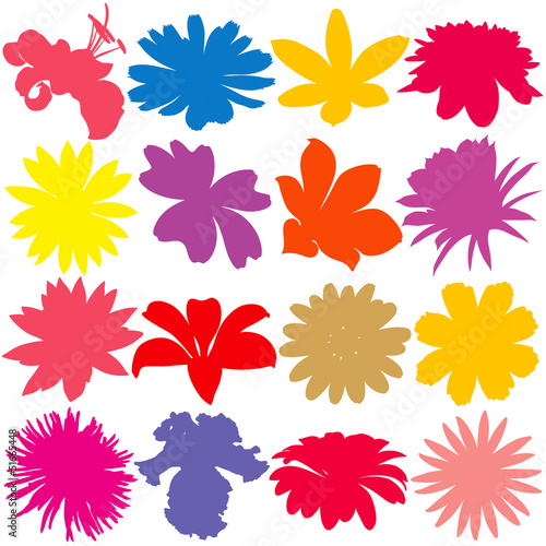 Flower silhouette set