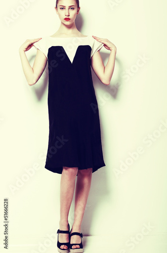 Fashion Clothes. Woman in Elegant Dress - series of photos