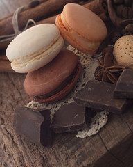 macaroons with ingredients and chocolate