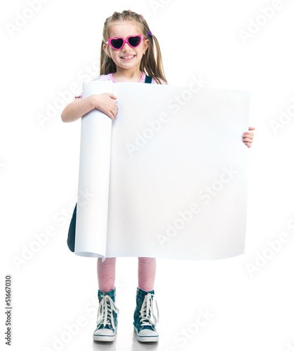 fashion girl  behind a white board