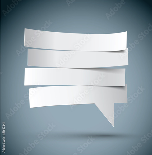cut paper speech bubble vector, layered