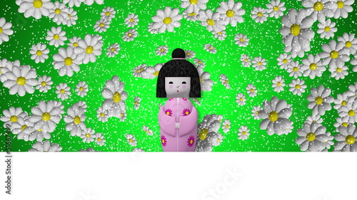 cartoon japanese woman. Motion on blank signboard