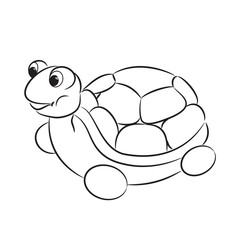 Outlined turtle toy. Coloring book. Vector illustration