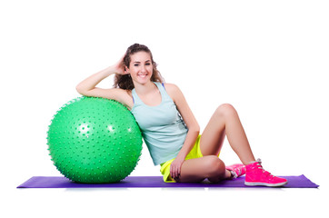 Sport concept with woman and ball