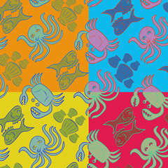 Sea animals pattern background, Sketch style