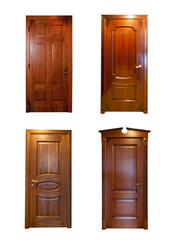 Collection of wooden doors. isolated