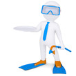 3d white man with flippers holds plate