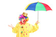 A cheerful clown holding a colorful umbrella