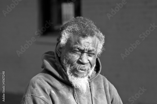 Elderly African american homeless man