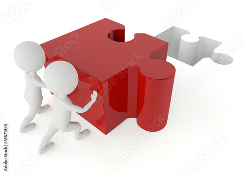 3d humanoid character push a red puzzle pieces