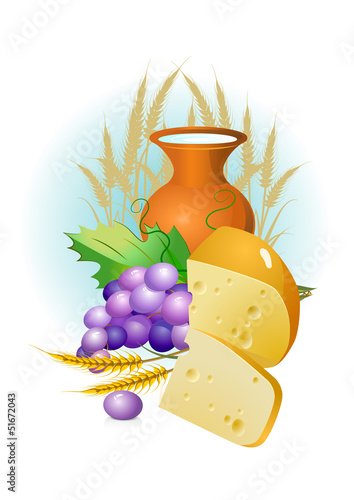 set of food, grapes, cheese ,milk