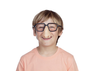 Funny boy with glasses disguise