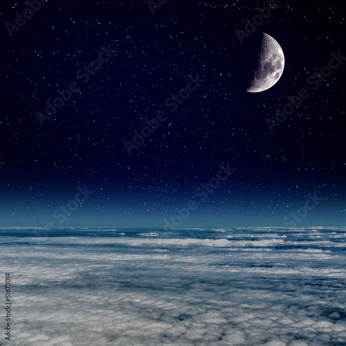 Foto op Canvas Moon above the Clouds