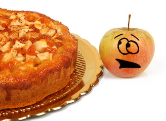 Funny apples with apple pie