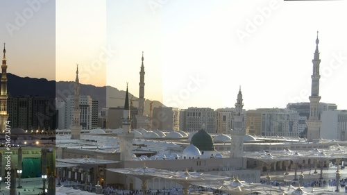 Nabawi Mosque time lapse with splits screen