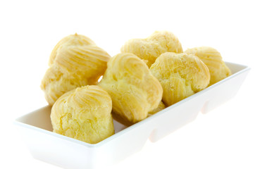Choux pastry in  white bowl